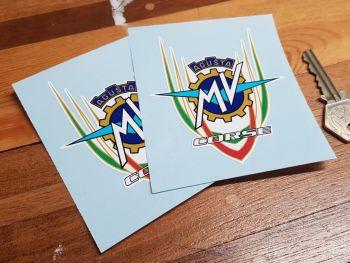 """MV Agusta Corse Logo Stickers 3.5"""" Pair"""
