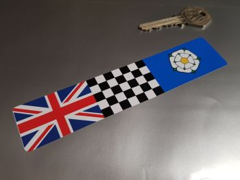 """Combination Union Jack, Chequered, & Yorkshire Flag Sticker 6"""""""