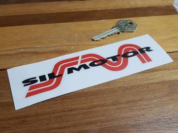 """Sil Motor Red, Black, & Clear Shaped Sticker - For Light Background - 6"""""""