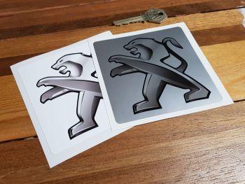 "Peugeot Grey Lion Square Stickers 4"" Pair"