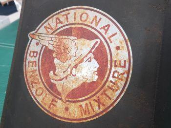 "National Benzole Mixture Round Rusty Sticker 6"""