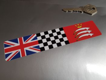 """Combination Union Jack, Chequered, & Middlesex Flag Sticker 6"""""""