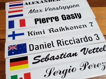 """Racing Driver Name & Nationality Personalised Printed Oblong Stickers - Various Fonts - 8"""" Pair"""