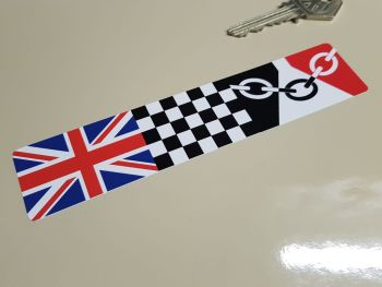 """Combination Union Jack, Chequered, & Black Country Flag Sticker 6"""""""