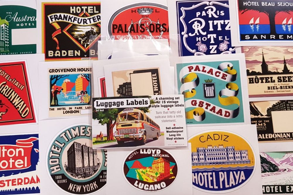 Vintage Style Travel Luggage Labels - Set of 15 Stickers