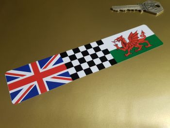 """Combination Union Jack, Chequered, & Wales Flag Sticker 6"""""""
