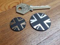 Union Jack Self Adhesive Bike/Car Badge - Circular - Silver or Gold - 24mm or 33mm