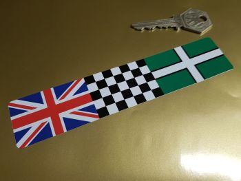 """Combination Union Jack, Chequered, & Devon Flag Sticker 6"""""""