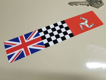 """Combination Union Jack, Chequered, & Isle of Man Flag Sticker 6"""""""