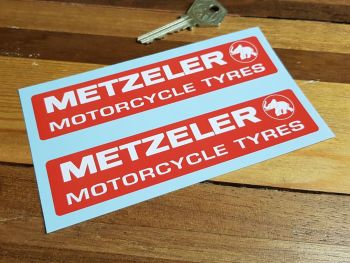 "Metzeler Motorcycle Tyres Oblong Stickers - Red - 5.5"" Pair"