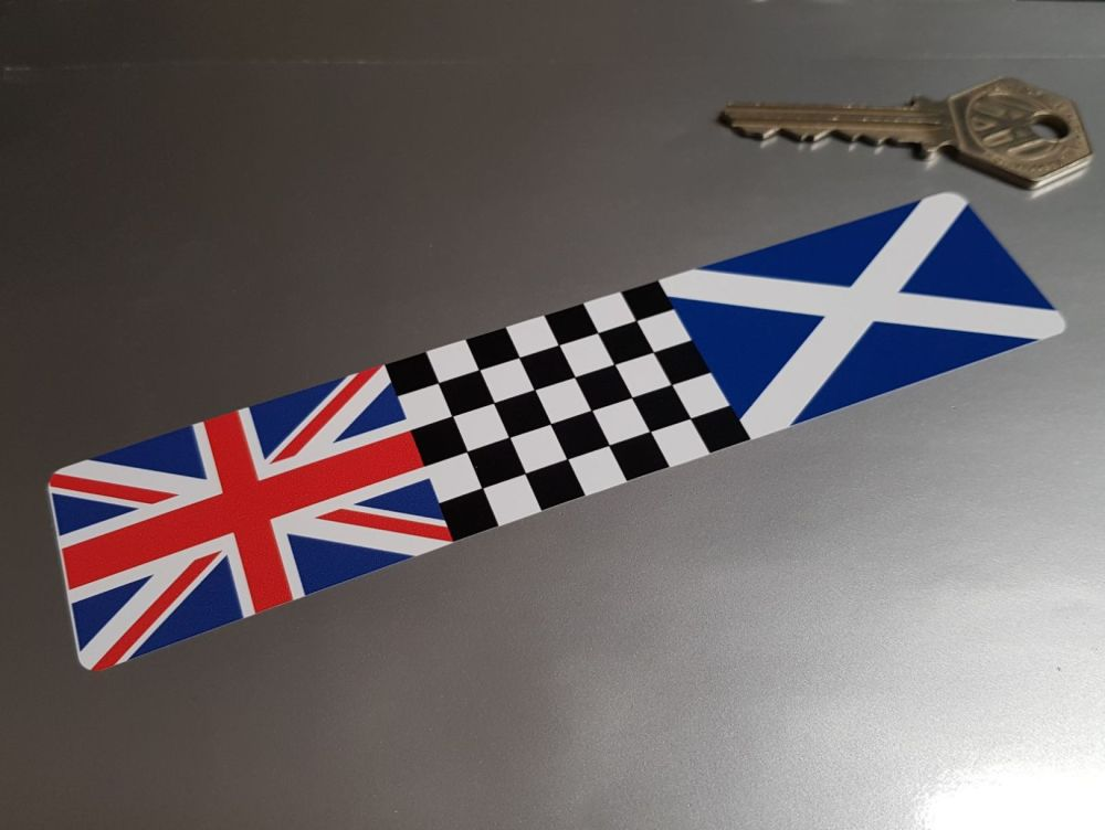 Combination Union Jack, Chequered, & Scotland Flag Sticker 6