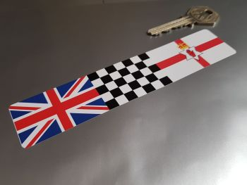 Combination Union Jack, Chequered, & Northern Irish Red Hand Flag Sticker 6""