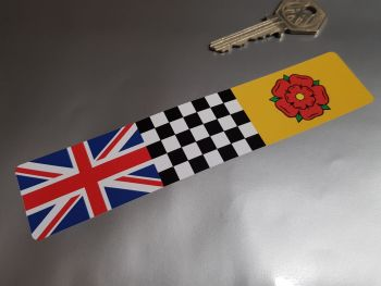 Combination Union Jack, Chequered, & Lancashire Flag Sticker 6""