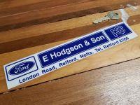 E Hodgson & Son Nottingham Dealer Window Sticker 9.75