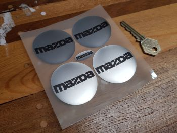 Mazda MX5 etc Text Wheel Centre Style Stickers - Set of 4 - 50mm