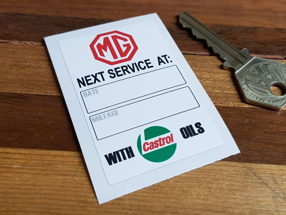 MG 'Service With Castrol Oils' Service Sticker. 2.75