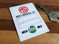 "MG 'Service With Castrol Oils' Service Sticker. 2.75""."