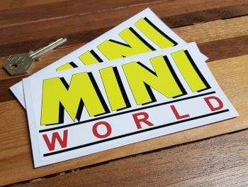 """Mini World Yellow, Red, & Black Oblong Stickers. 6"""" Pair."""