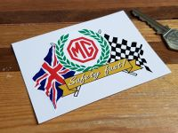 MG Safety Fast! Flag & Scroll Style Sticker. 3.75