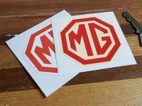 "MG Octagonal Logo Stickers. 2.5"" Pair."