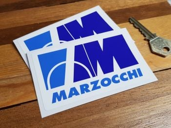 """Marzocchi Motorcycle Blue Stickers. 3"""" or 4"""" Pair."""