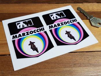 "Marzocchi Rainbow Tube Motorcross Bike Stickers. 3"" Pair."