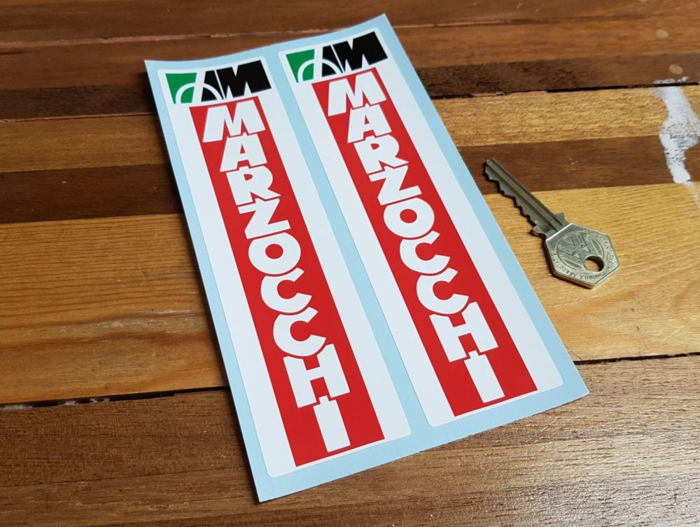 Marzocchi Racing Style White on Red Fork Slider Stickers. 6.75