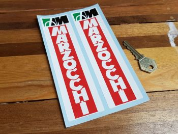 """Marzocchi Racing Style White on Red Fork Slider Stickers. 6.75"""" Pair."""