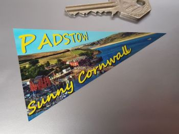 "Padstow Cornwall Travel Pennant Sticker. 4""."