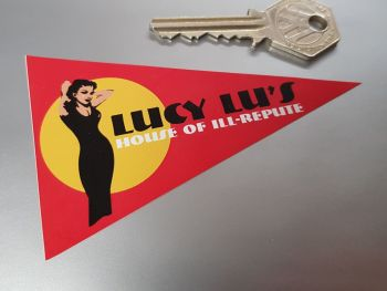Lucy Lu's House of Ill-Repute Travel Pennant Sticker 4""