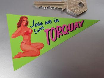"Torquay Travel Pennant Sticker 4"""