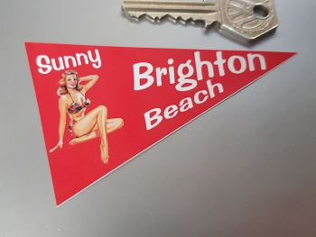 "Brighton Beach Travel Pennant Sticker 4"""