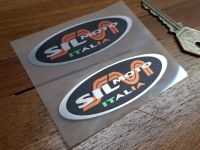 """Sil Moto Italia Exhausts Heat Resistant Foil Oval Stickers 3"""" Pair"""