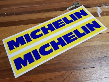 """Michelin Blue Text on Yellow Oblong Stickers - 9"""" or 12"""" Pair"""