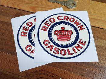 "Red Crown Gasoline Cream Stickers 4"" Pair"
