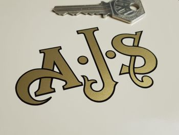 "AJS Cut To Shape Gold with Black Border Stickers 3.25"" Pair"