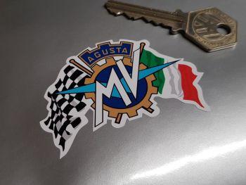 "MV Agusta Crossed Flags Sticker 2.75"""