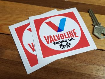 "Valvoline Racing Oil Red Square Stickers - 2"", 3"", 4"", 6"" or 8"" Pair"