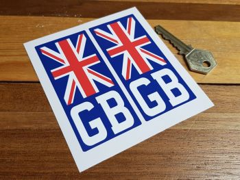 "GB Union Jack Number Plate ID Stickers 4"" Pair"
