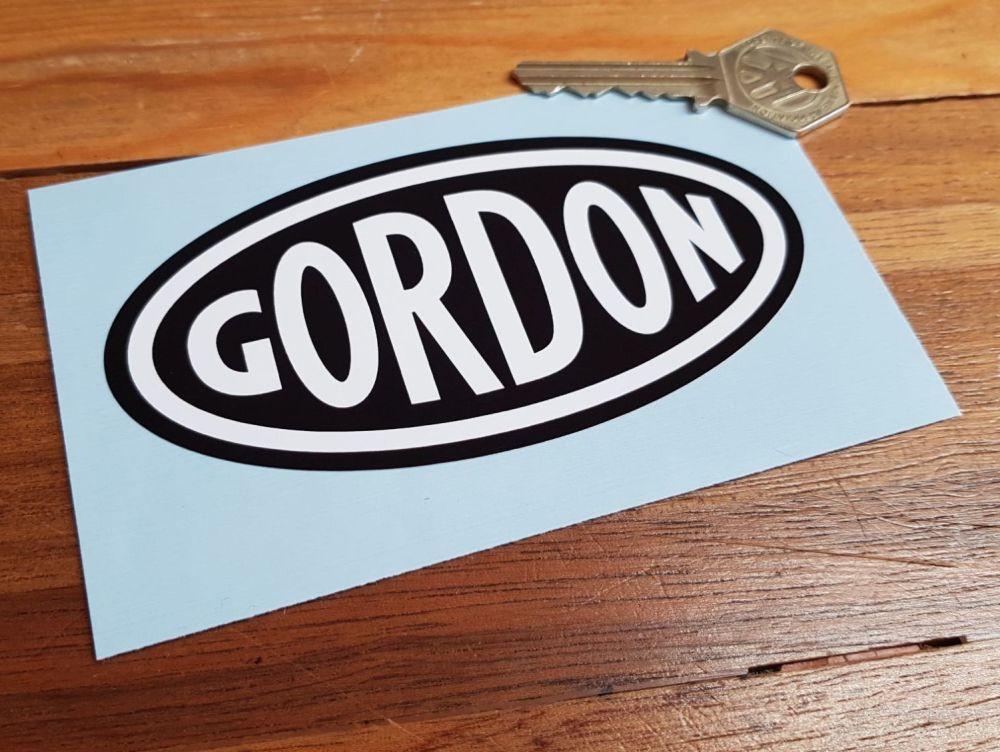 Gordon English Tools White on Black Oval Sticker 4.75