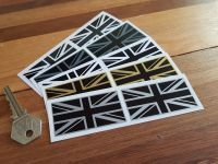 Union Jack Stickers - Various Colours - 50mm, 60mm, 75mm, or 100mm Pair