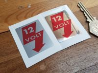 12 Volt Sticker - Red & Silver or Mirrored Foil - 45mm
