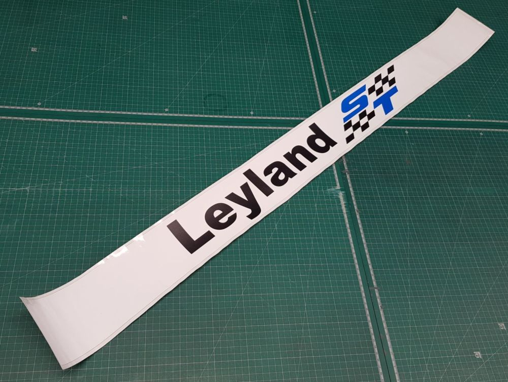 British Leyland ST Screentop Sunstrip Visor Decal - Black Checks - Face Sti