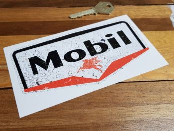 """Mobil Gas Station Distressed Cracked Paint Style Sticker 6"""""""