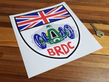 "BRDC Shield Shaped White Border Sticker 8.5"""