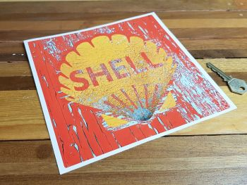 """Shell Red Square Distressed Cracked Paint Sticker - 4"""" or 8"""""""