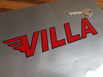 """Moto Villa Cut Outlined Text Stickers 8"""" Pair"""