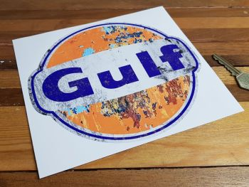 Gulf Distressed Cracked Paint Style Sticker 8""