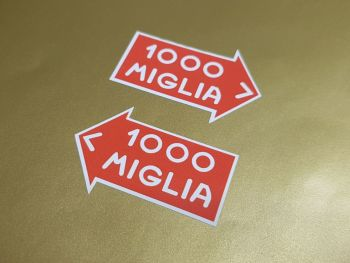 "Mille Miglia Directional Stickers. 1.5"", 2.5"", 3.5"", 4.5"" or 5"" Pair."