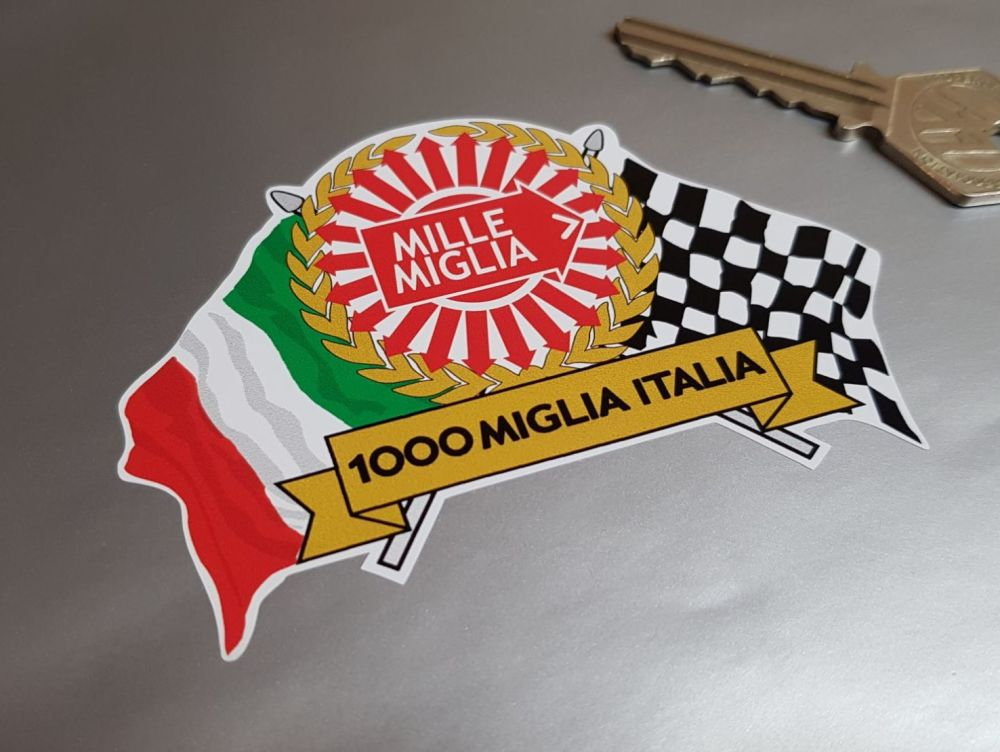 Mille Miglia 1000 Flag & Scroll Sticker